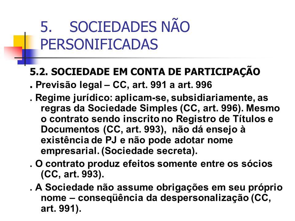5. SOCIEDADES NÃO PERSONIFICADAS 5.2. SOCIEDADE EM CONTA DE PARTICIPAÇÃO. Previsão legal – CC, art. 991 a art. 996. Regime jurídico: aplicam-se, subsi