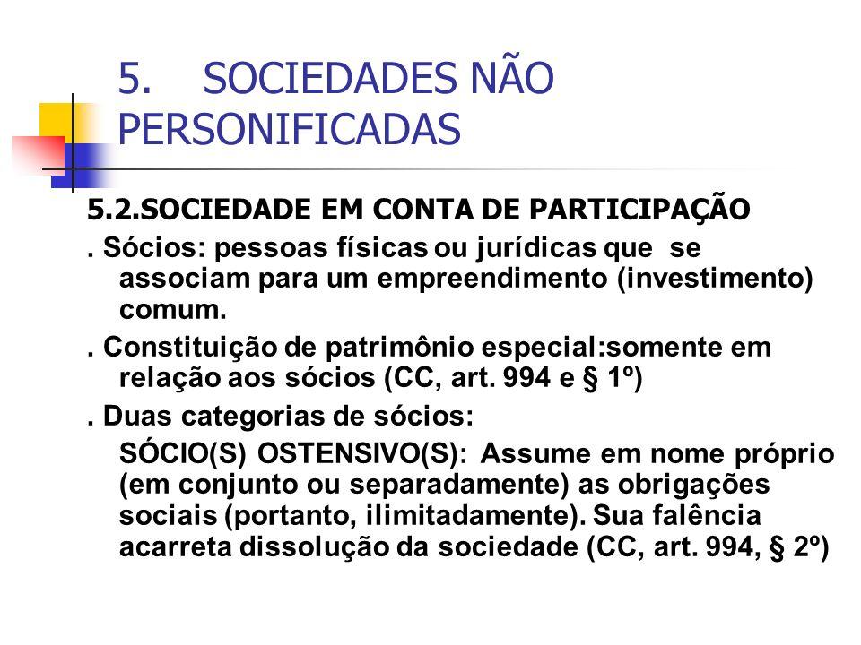 5. SOCIEDADES NÃO PERSONIFICADAS 5.2.SOCIEDADE EM CONTA DE PARTICIPAÇÃO. Sócios: pessoas físicas ou jurídicas que se associam para um empreendimento (
