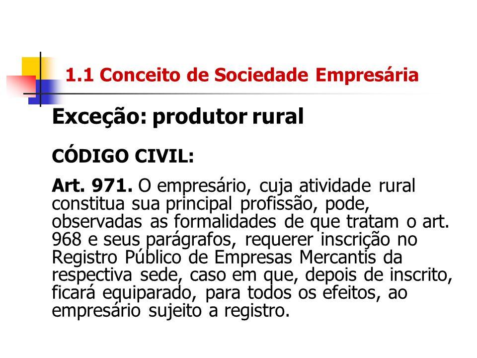 1.1 Conceito de Sociedade Empresária Exceção: produtor rural CÓDIGO CIVIL: Art. 971. O empresário, cuja atividade rural constitua sua principal profis