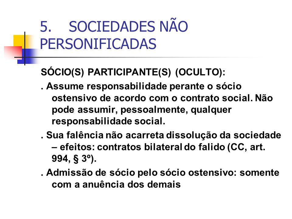 5. SOCIEDADES NÃO PERSONIFICADAS SÓCIO(S) PARTICIPANTE(S) (OCULTO):. Assume responsabilidade perante o sócio ostensivo de acordo com o contrato social