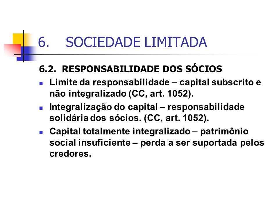 6.SOCIEDADE LIMITADA 6.2. RESPONSABILIDADE DOS SÓCIOS Limite da responsabilidade – capital subscrito e não integralizado (CC, art. 1052). Integralizaç