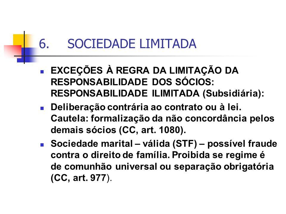 6.SOCIEDADE LIMITADA EXCEÇÕES À REGRA DA LIMITAÇÃO DA RESPONSABILIDADE DOS SÓCIOS: RESPONSABILIDADE ILIMITADA (Subsidiária): Deliberação contrária ao