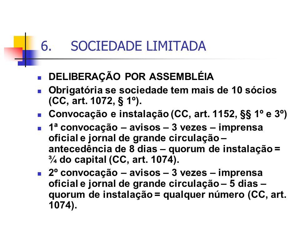 6.SOCIEDADE LIMITADA DELIBERAÇÃO POR ASSEMBLÉIA Obrigatória se sociedade tem mais de 10 sócios (CC, art. 1072, § 1º). Convocação e instalação (CC, art