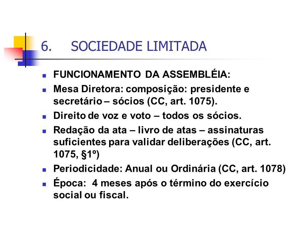 6.SOCIEDADE LIMITADA FUNCIONAMENTO DA ASSEMBLÉIA: Mesa Diretora: composição: presidente e secretário – sócios (CC, art. 1075). Direito de voz e voto –