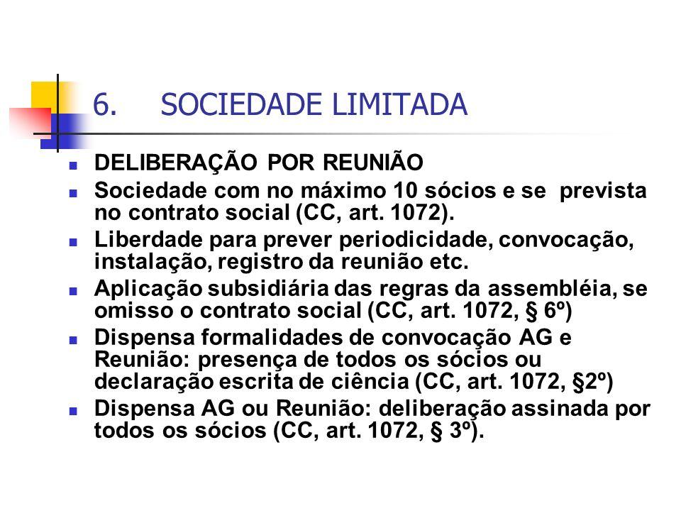6.SOCIEDADE LIMITADA DELIBERAÇÃO POR REUNIÃO Sociedade com no máximo 10 sócios e se prevista no contrato social (CC, art. 1072). Liberdade para prever