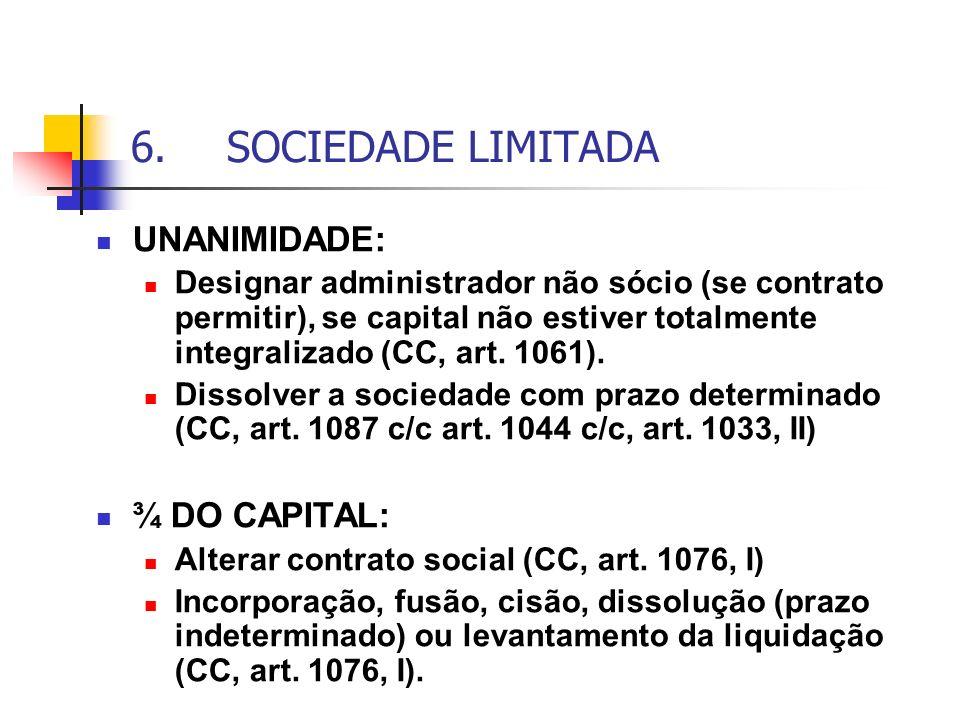 6.SOCIEDADE LIMITADA UNANIMIDADE: Designar administrador não sócio (se contrato permitir), se capital não estiver totalmente integralizado (CC, art. 1