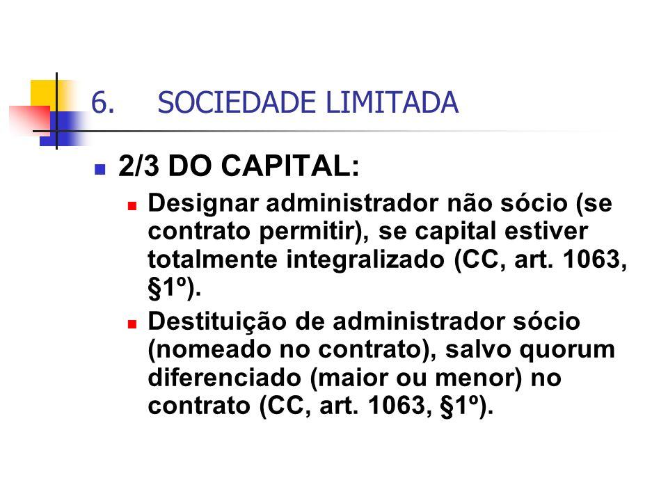 6.SOCIEDADE LIMITADA 2/3 DO CAPITAL: Designar administrador não sócio (se contrato permitir), se capital estiver totalmente integralizado (CC, art. 10
