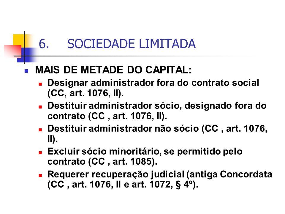 6.SOCIEDADE LIMITADA MAIS DE METADE DO CAPITAL: Designar administrador fora do contrato social (CC, art. 1076, II). Destituir administrador sócio, des