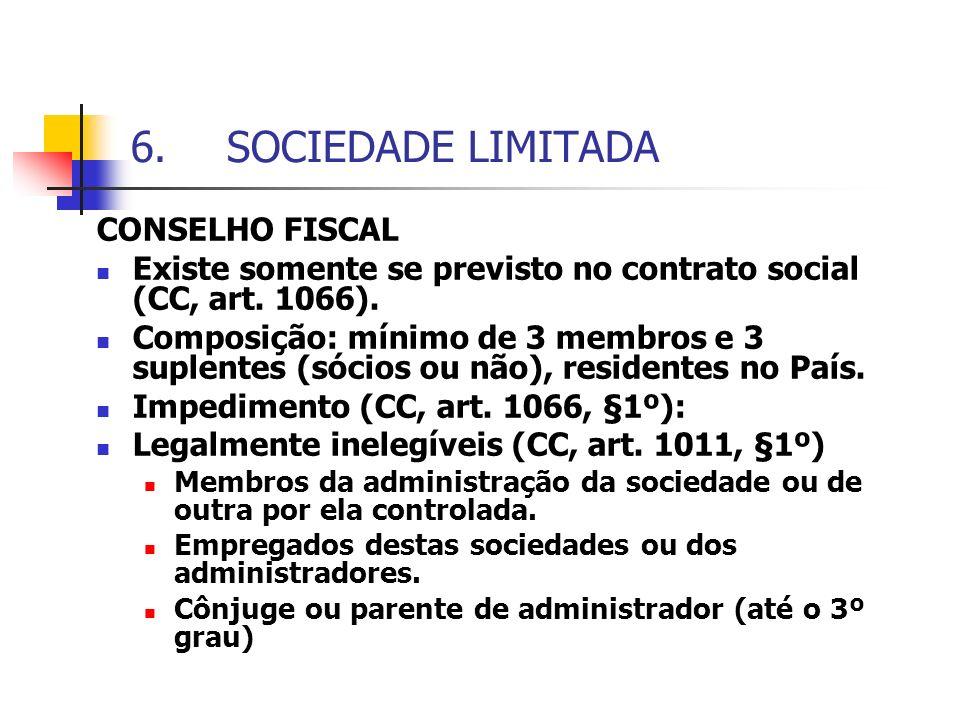 6.SOCIEDADE LIMITADA CONSELHO FISCAL Existe somente se previsto no contrato social (CC, art. 1066). Composição: mínimo de 3 membros e 3 suplentes (sóc