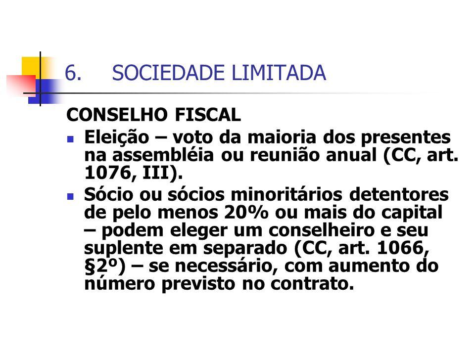 6.SOCIEDADE LIMITADA CONSELHO FISCAL Eleição – voto da maioria dos presentes na assembléia ou reunião anual (CC, art. 1076, III). Sócio ou sócios mino