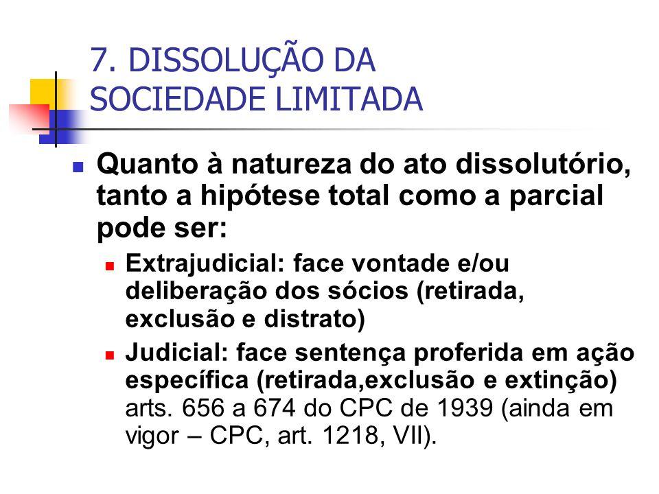 7. DISSOLUÇÃO DA SOCIEDADE LIMITADA Quanto à natureza do ato dissolutório, tanto a hipótese total como a parcial pode ser: Extrajudicial: face vontade