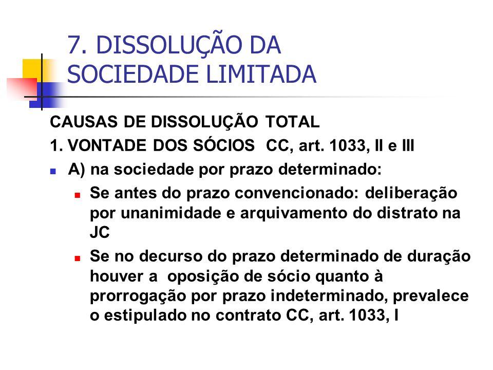 7. DISSOLUÇÃO DA SOCIEDADE LIMITADA CAUSAS DE DISSOLUÇÃO TOTAL 1. VONTADE DOS SÓCIOS CC, art. 1033, II e III A) na sociedade por prazo determinado: Se