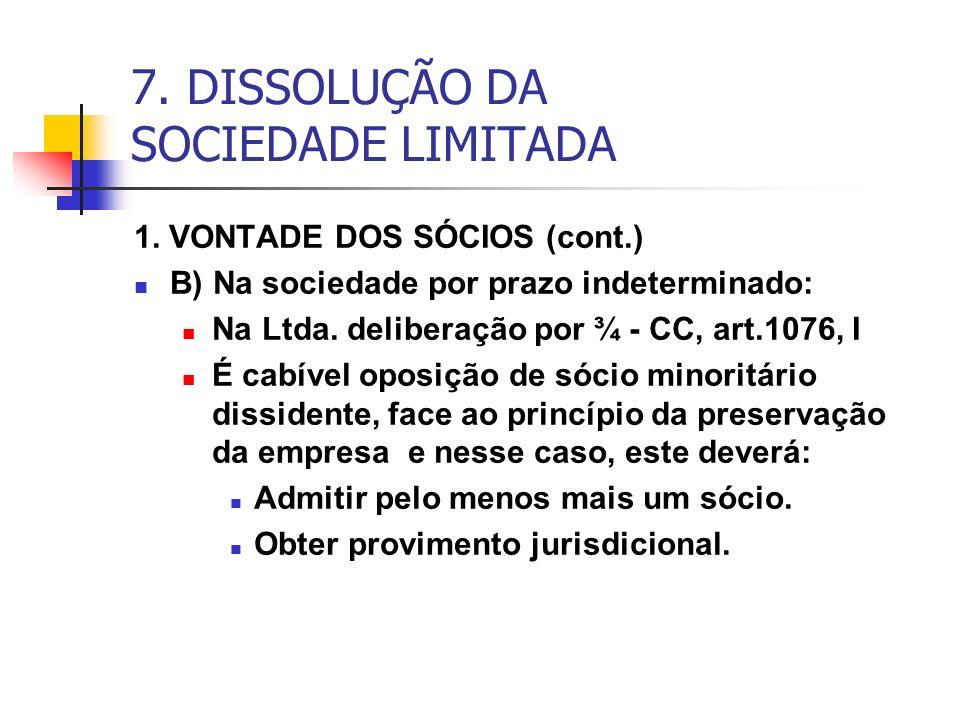 7. DISSOLUÇÃO DA SOCIEDADE LIMITADA 1. VONTADE DOS SÓCIOS (cont.) B) Na sociedade por prazo indeterminado: Na Ltda. deliberação por ¾ - CC, art.1076,