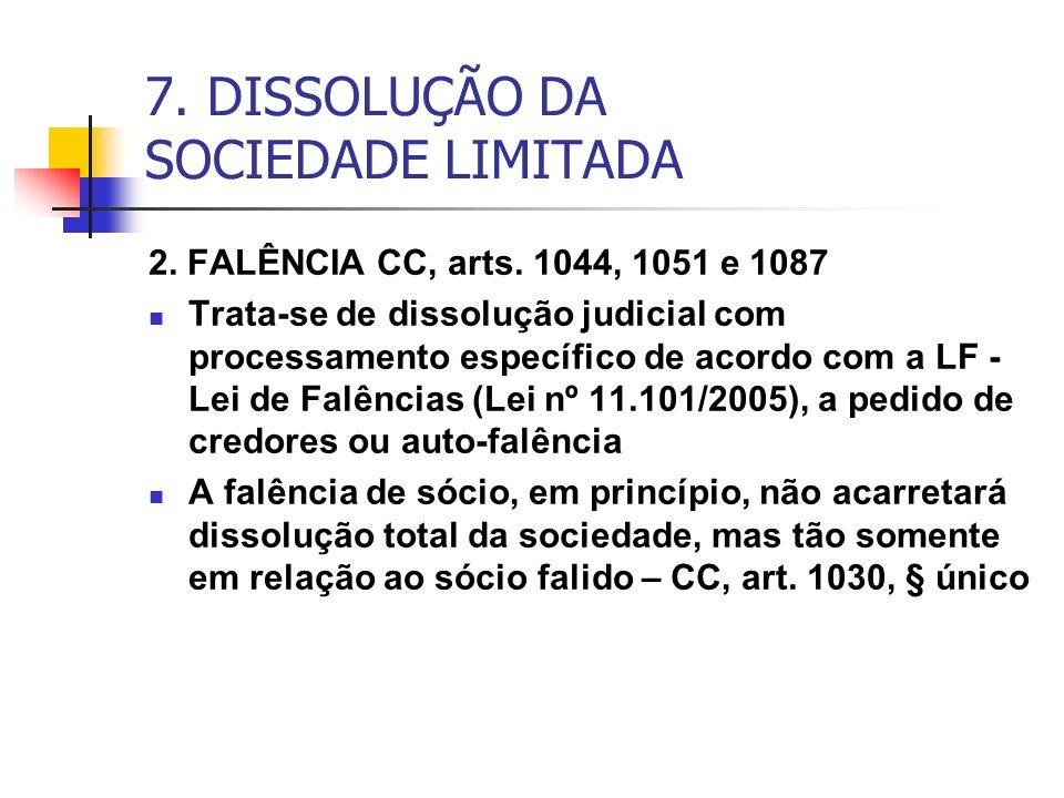7. DISSOLUÇÃO DA SOCIEDADE LIMITADA 2. FALÊNCIA CC, arts. 1044, 1051 e 1087 Trata-se de dissolução judicial com processamento específico de acordo com