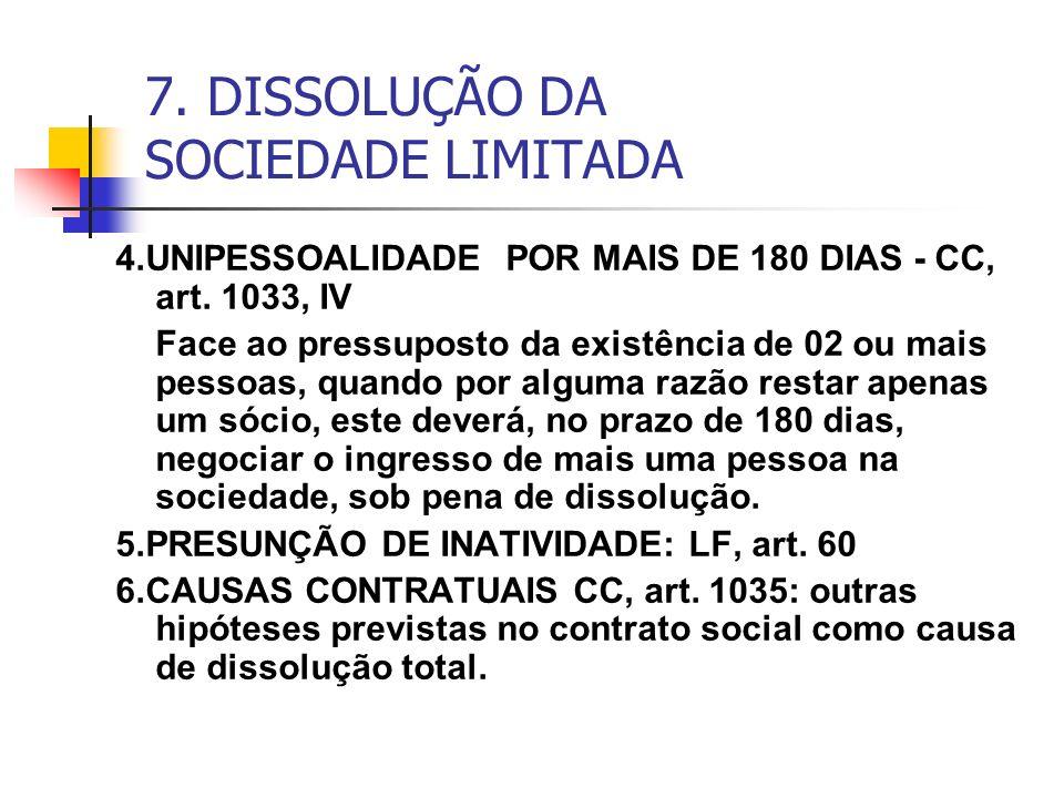 7. DISSOLUÇÃO DA SOCIEDADE LIMITADA 4.UNIPESSOALIDADE POR MAIS DE 180 DIAS - CC, art. 1033, IV Face ao pressuposto da existência de 02 ou mais pessoas