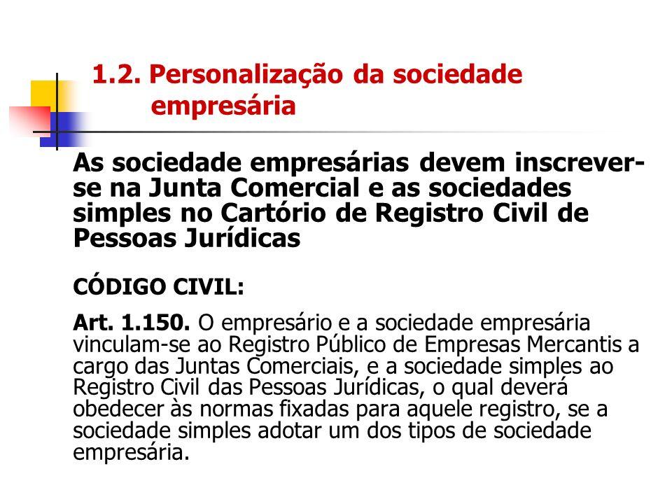 1.2. Personalização da sociedade empresária As sociedade empresárias devem inscrever- se na Junta Comercial e as sociedades simples no Cartório de Reg