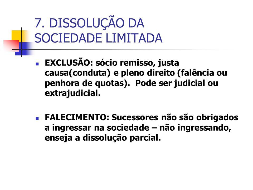 7. DISSOLUÇÃO DA SOCIEDADE LIMITADA EXCLUSÃO: sócio remisso, justa causa(conduta) e pleno direito (falência ou penhora de quotas). Pode ser judicial o