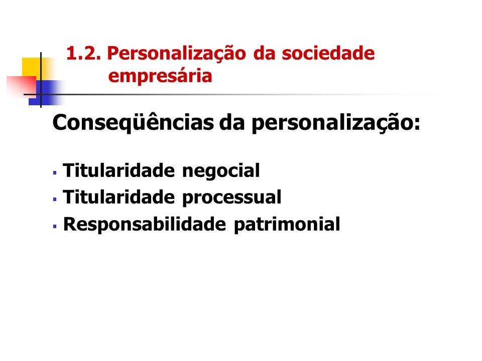 1.2. Personalização da sociedade empresária Conseqüências da personalização: Titularidade negocial Titularidade processual Responsabilidade patrimonia