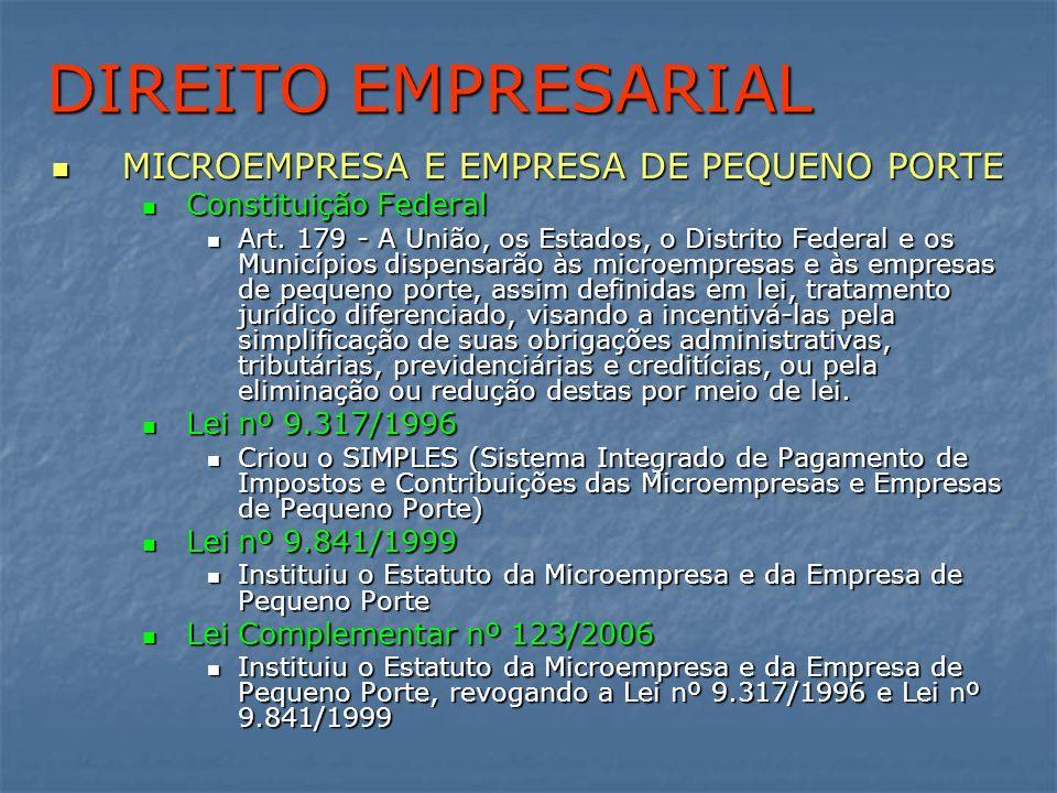 DIREITO EMPRESARIAL MICROEMPRESA E EMPRESA DE PEQUENO PORTE MICROEMPRESA E EMPRESA DE PEQUENO PORTE Constituição Federal Constituição Federal Art. 179