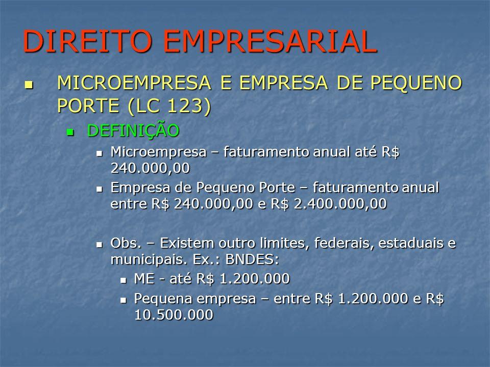 DIREITO EMPRESARIAL MICROEMPRESA E EMPRESA DE PEQUENO PORTE (LC 123) MICROEMPRESA E EMPRESA DE PEQUENO PORTE (LC 123) DEFINIÇÃO DEFINIÇÃO Microempresa