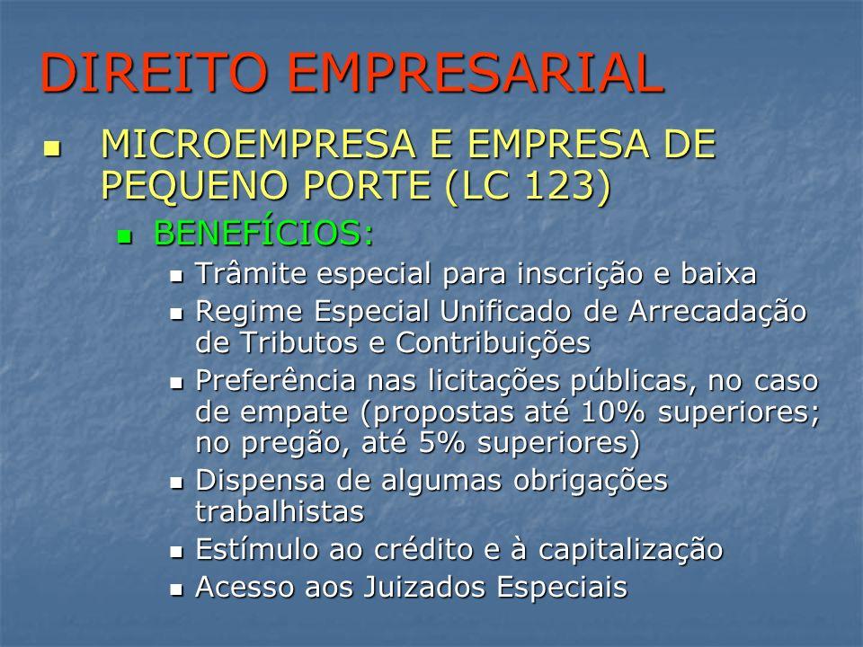 DIREITO EMPRESARIAL MICROEMPRESA E EMPRESA DE PEQUENO PORTE (LC 123) MICROEMPRESA E EMPRESA DE PEQUENO PORTE (LC 123) BENEFÍCIOS: BENEFÍCIOS: Trâmite