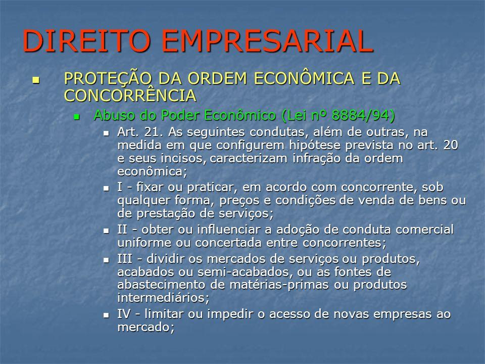 DIREITO EMPRESARIAL PROTEÇÃO DA ORDEM ECONÔMICA E DA CONCORRÊNCIA PROTEÇÃO DA ORDEM ECONÔMICA E DA CONCORRÊNCIA Abuso do Poder Econômico (Lei nº 8884/