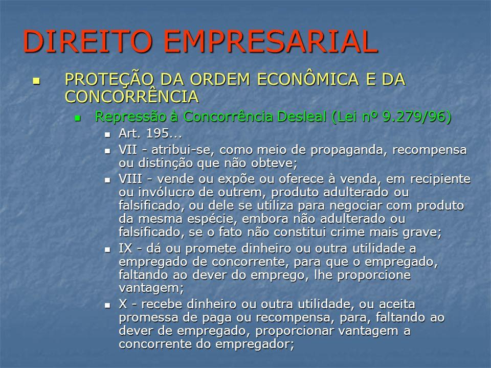 DIREITO EMPRESARIAL PROTEÇÃO DA ORDEM ECONÔMICA E DA CONCORRÊNCIA PROTEÇÃO DA ORDEM ECONÔMICA E DA CONCORRÊNCIA Repressão à Concorrência Desleal (Lei
