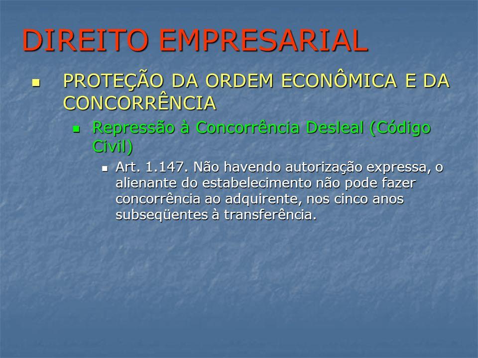 DIREITO EMPRESARIAL PROTEÇÃO DA ORDEM ECONÔMICA E DA CONCORRÊNCIA PROTEÇÃO DA ORDEM ECONÔMICA E DA CONCORRÊNCIA Repressão à Concorrência Desleal (Códi
