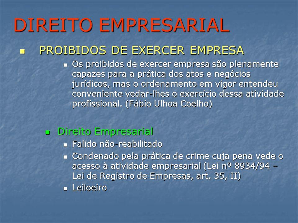 DIREITO EMPRESARIAL PROIBIDOS DE EXERCER EMPRESA PROIBIDOS DE EXERCER EMPRESA Os proibidos de exercer empresa são plenamente capazes para a prática do