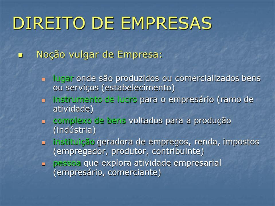 DIREITO DE EMPRESAS Noção vulgar de Empresa : Noção vulgar de Empresa : lugar onde são produzidos ou comercializados bens ou serviços (estabelecimento