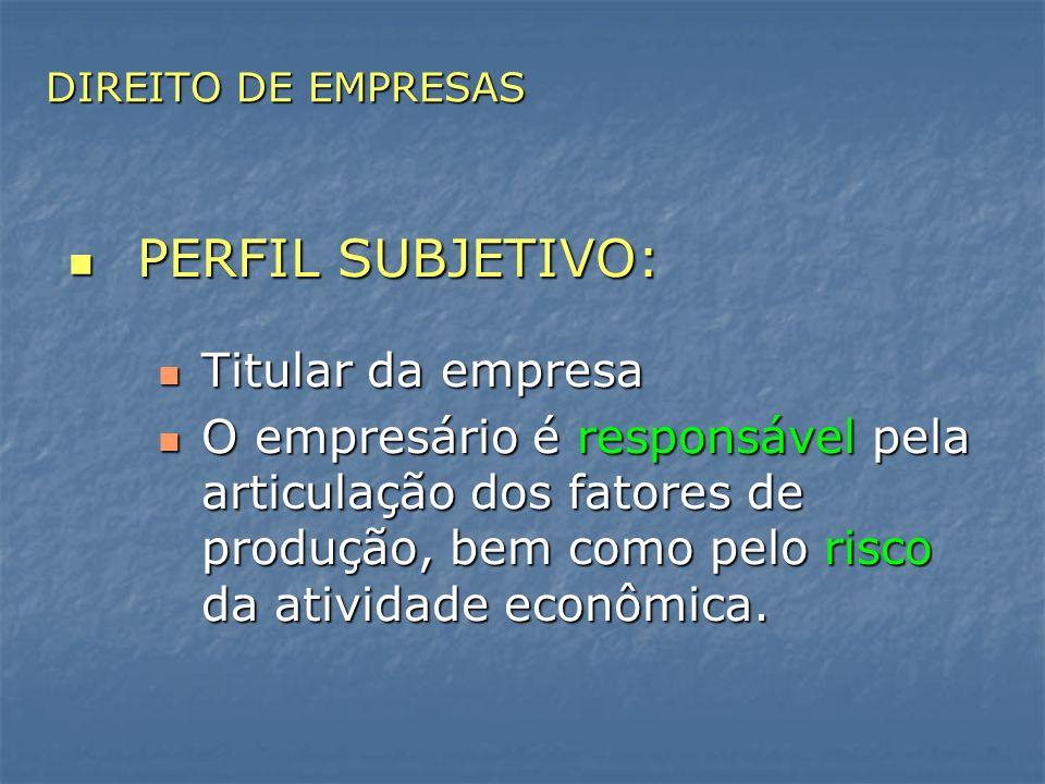 PERFIL SUBJETIVO: PERFIL SUBJETIVO: Titular da empresa Titular da empresa O empresário é responsável pela articulação dos fatores de produção, bem com