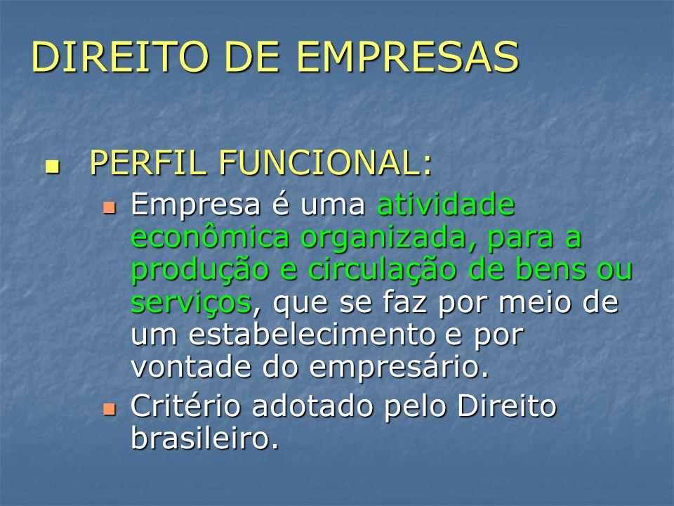 DIREITO DE EMPRESAS PERFIL FUNCIONAL: PERFIL FUNCIONAL: Empresa é uma atividade econômica organizada, para a produção e circulação de bens ou serviços