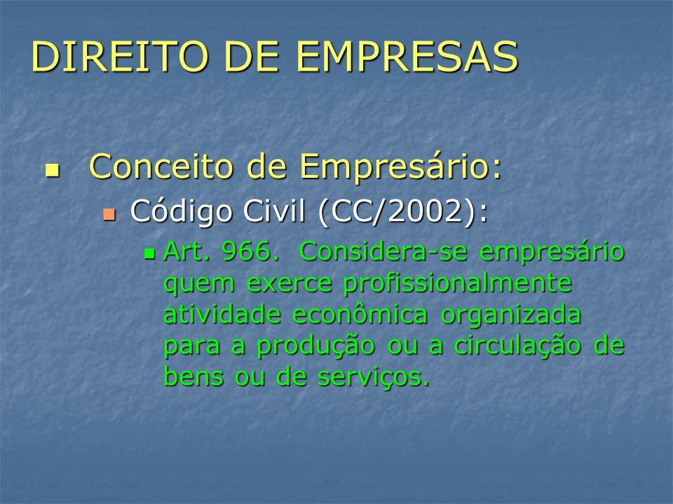 DIREITO DE EMPRESAS Conceito de Empresário: Conceito de Empresário: Código Civil (CC/2002): Código Civil (CC/2002): Art. 966. Considera-se empresário