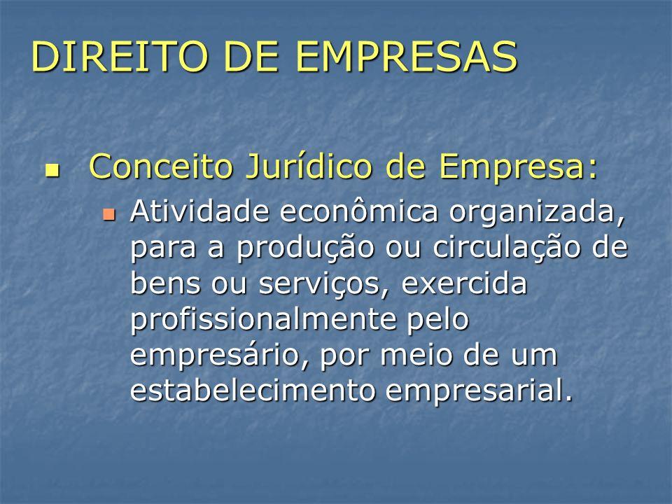 DIREITO DE EMPRESAS Conceito Jurídico de Empresa: Conceito Jurídico de Empresa: Atividade econômica organizada, para a produção ou circulação de bens
