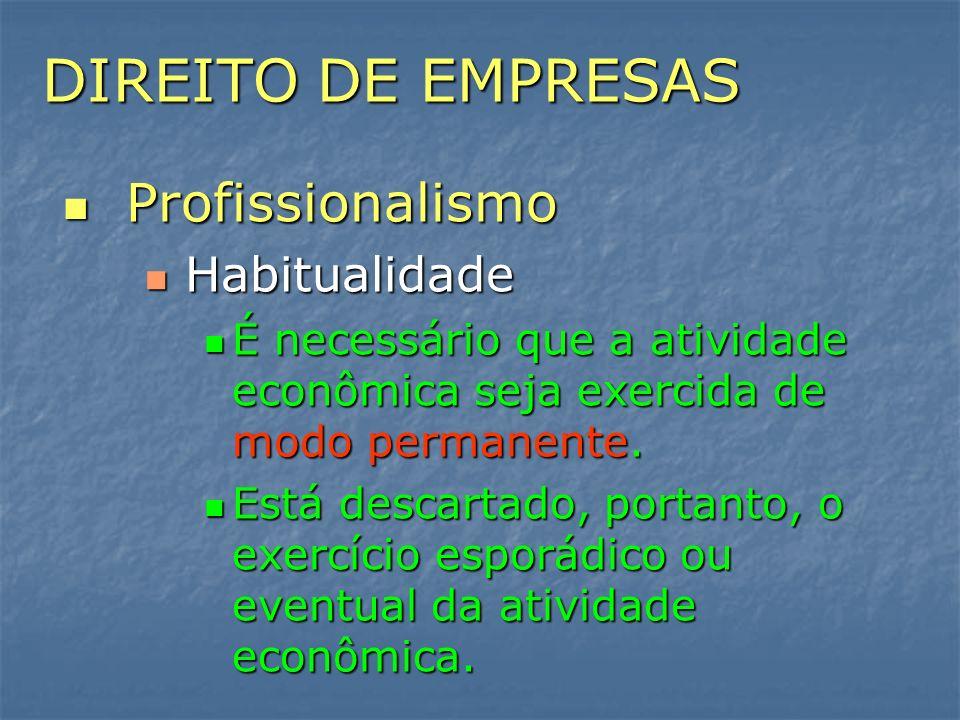 DIREITO DE EMPRESAS Profissionalismo Profissionalismo Habitualidade Habitualidade É necessário que a atividade econômica seja exercida de modo permane