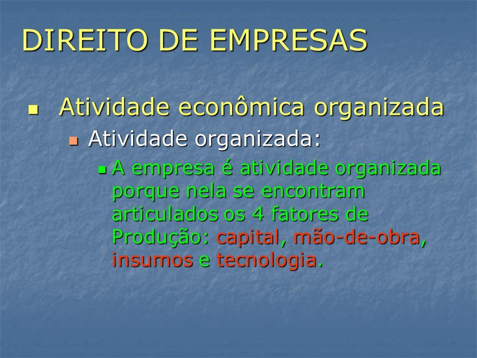 DIREITO DE EMPRESAS Atividade econômica organizada Atividade econômica organizada Atividade organizada: Atividade organizada: A empresa é atividade or