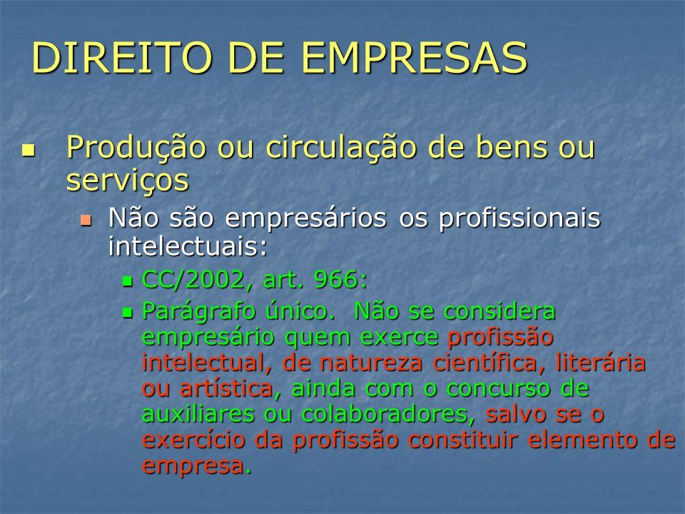 DIREITO DE EMPRESAS Produção ou circulação de bens ou serviços Produção ou circulação de bens ou serviços Não são empresários os profissionais intelec