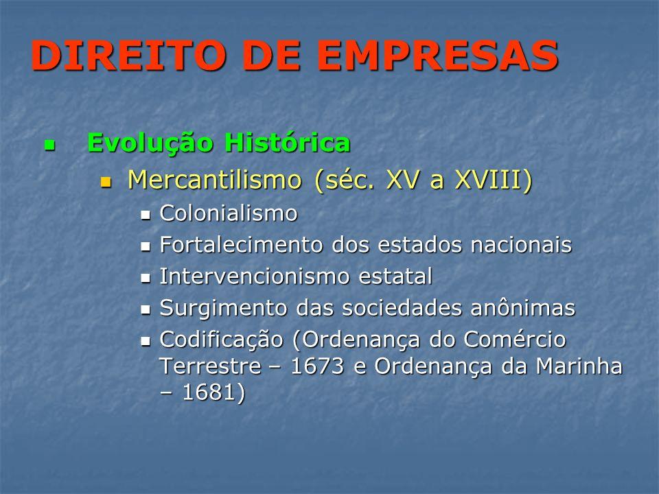 DIREITO DE EMPRESAS Evolução Histórica Evolução Histórica Mercantilismo (séc. XV a XVIII) Mercantilismo (séc. XV a XVIII) Colonialismo Colonialismo Fo