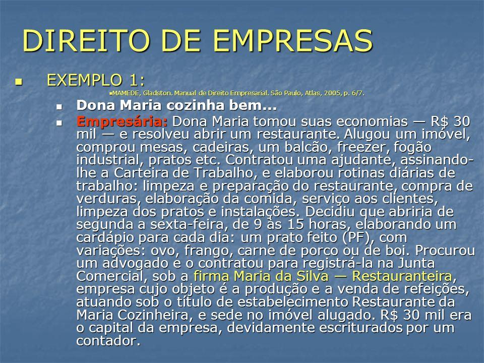 DIREITO DE EMPRESAS EXEMPLO 1: EXEMPLO 1: MAMEDE, Gladston. Manual de Direito Empresarial. São Paulo, Atlas, 2005, p. 6/7. MAMEDE, Gladston. Manual de