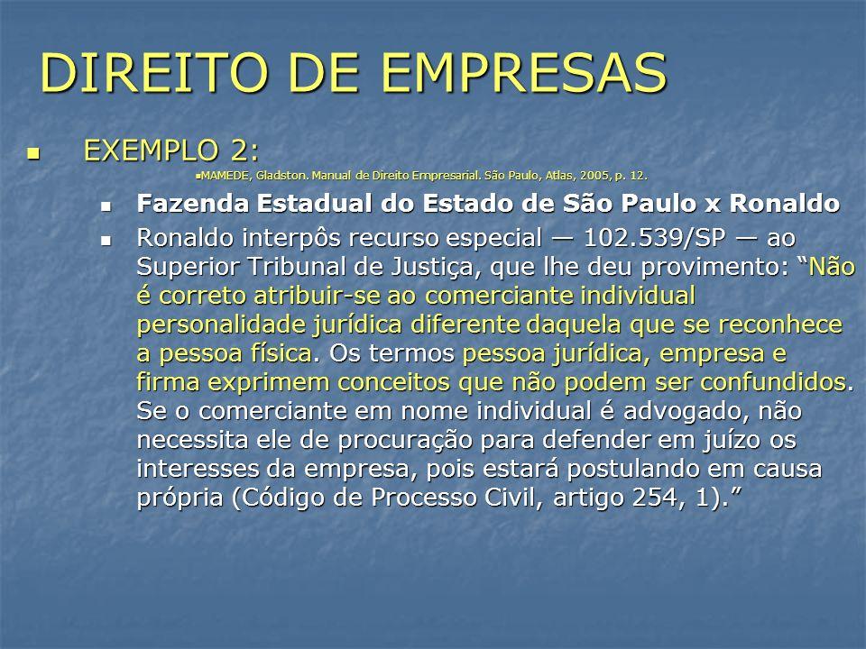DIREITO DE EMPRESAS EXEMPLO 2: EXEMPLO 2: MAMEDE, Gladston. Manual de Direito Empresarial. São Paulo, Atlas, 2005, p. 12. MAMEDE, Gladston. Manual de