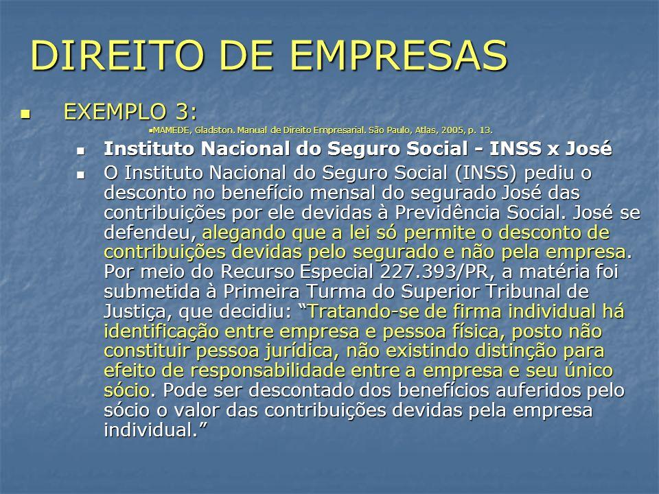 DIREITO DE EMPRESAS EXEMPLO 3: EXEMPLO 3: MAMEDE, Gladston. Manual de Direito Empresarial. São Paulo, Atlas, 2005, p. 13. MAMEDE, Gladston. Manual de