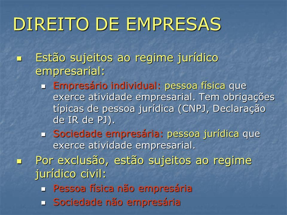 DIREITO DE EMPRESAS Estão sujeitos ao regime jurídico empresarial: Estão sujeitos ao regime jurídico empresarial: Empresário individual: pessoa física
