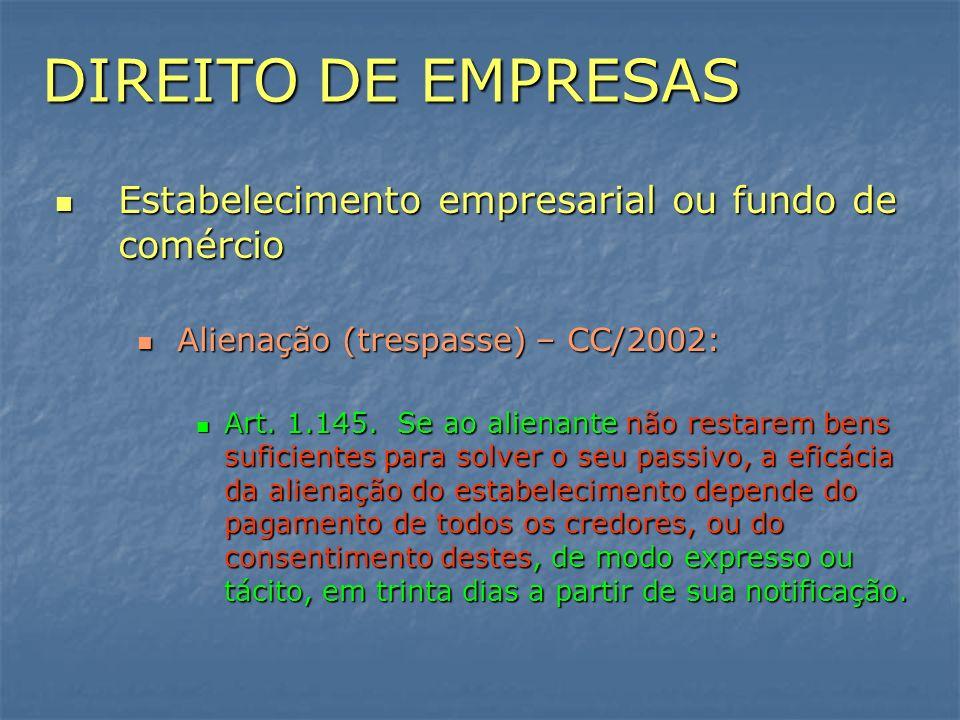 DIREITO DE EMPRESAS Estabelecimento empresarial ou fundo de comércio Estabelecimento empresarial ou fundo de comércio Alienação (trespasse) – CC/2002: