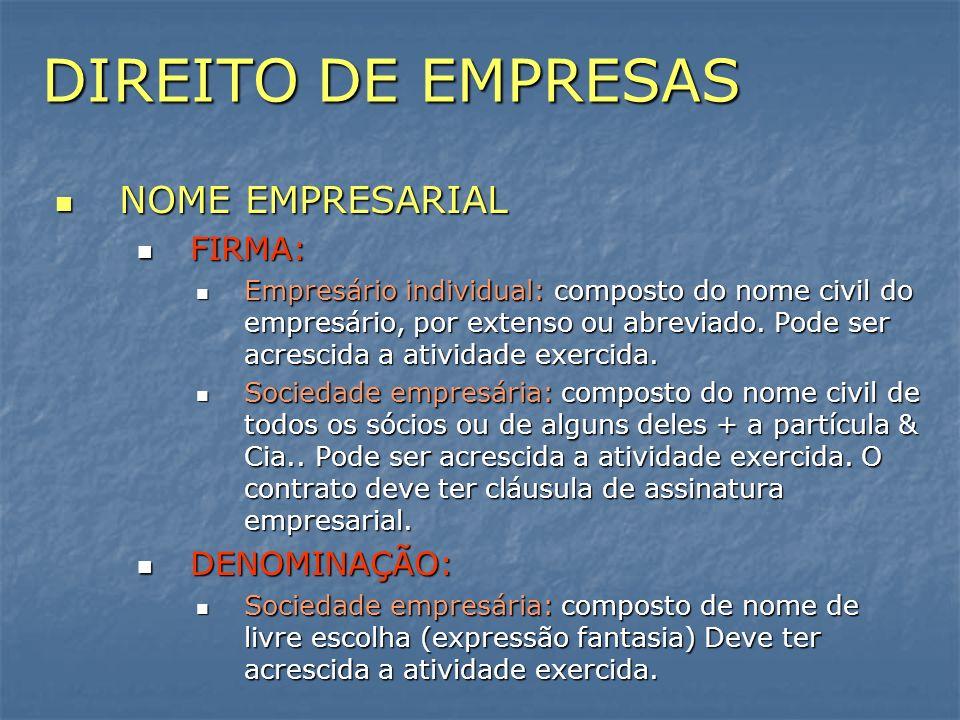DIREITO DE EMPRESAS NOME EMPRESARIAL NOME EMPRESARIAL FIRMA: FIRMA: Empresário individual: composto do nome civil do empresário, por extenso ou abrevi