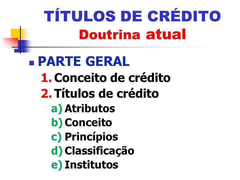 PARTE GERAL 1.Conceito de crédito 2.Títulos de crédito a)Atributos b)Conceito c)Princípios d)Classificação e)Institutos TÍTULOS DE CRÉDITO Doutrina at