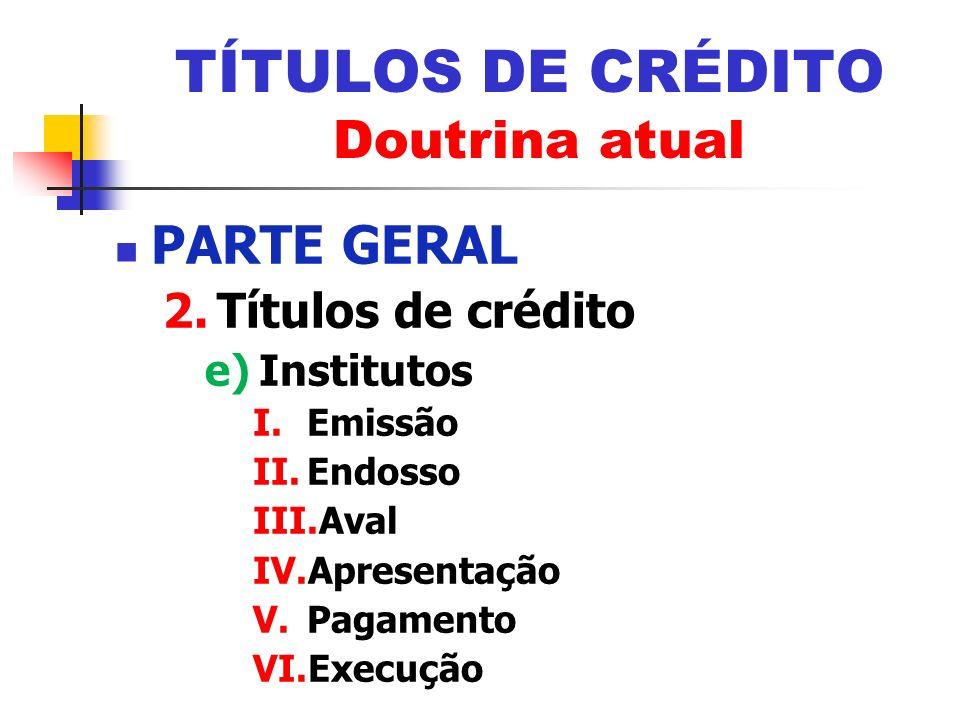PARTE GERAL 2.Títulos de crédito e)Institutos I.Emissão II.Endosso III.Aval IV.Apresentação V.Pagamento VI.Execução TÍTULOS DE CRÉDITO Doutrina atual