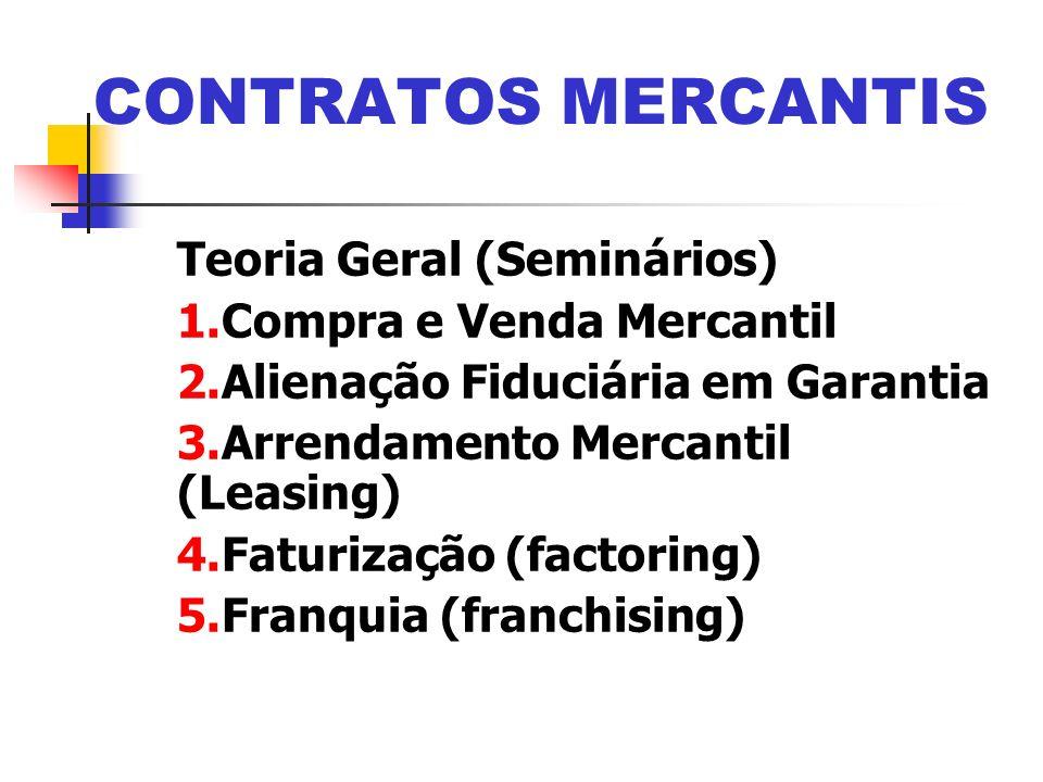 Teoria Geral (Seminários) 1.Compra e Venda Mercantil 2.Alienação Fiduciária em Garantia 3.Arrendamento Mercantil (Leasing) 4.Faturização (factoring) 5