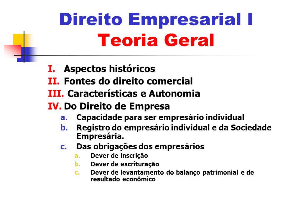 I.Aspectos históricos II.Fontes do direito comercial III. Características e Autonomia IV.Do Direito de Empresa a.Capacidade para ser empresário indivi