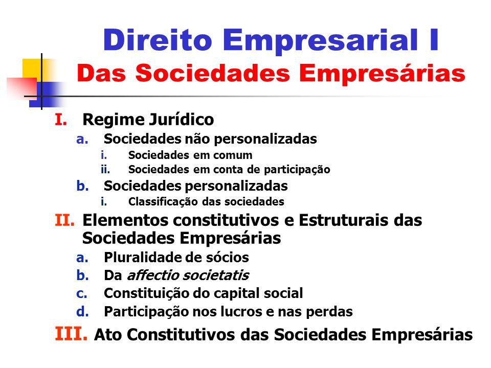 I.Regime Jurídico a.Sociedades não personalizadas i.Sociedades em comum ii.Sociedades em conta de participação b.Sociedades personalizadas i.Classific