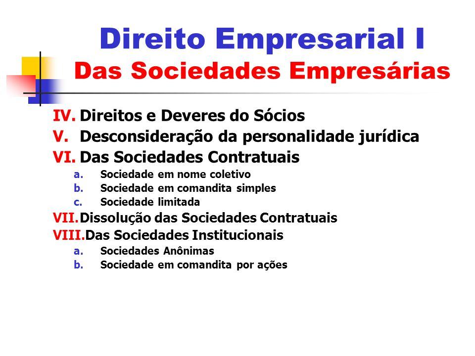 IV.Direitos e Deveres do Sócios V.Desconsideração da personalidade jurídica VI.Das Sociedades Contratuais a.Sociedade em nome coletivo b.Sociedade em